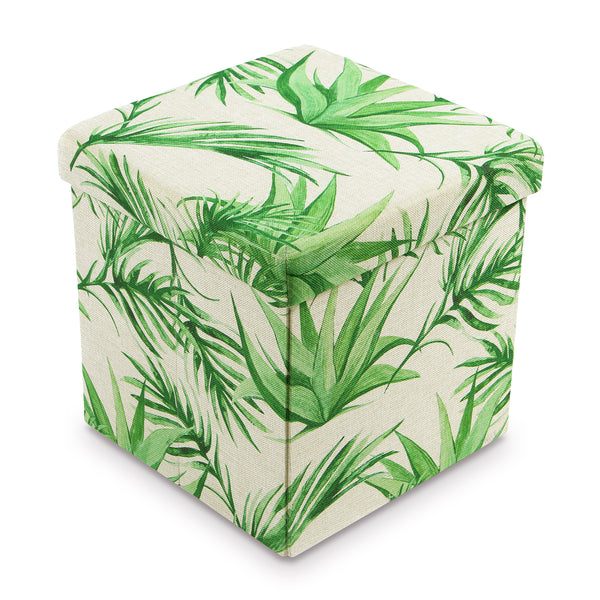 Ikee Design® Areca Palm Polyester Folding Storage Ottoman Foot Rest Stool