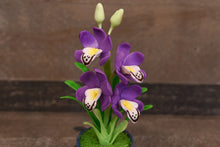 Clay Flowers Art Handmade Mini Orchid Purple Cymbidium Cute Hand Painted Flower
