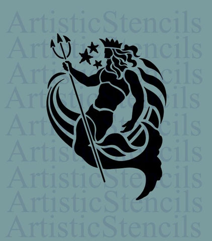 Neptune Roman God of the Sea Stencil 10x7.2