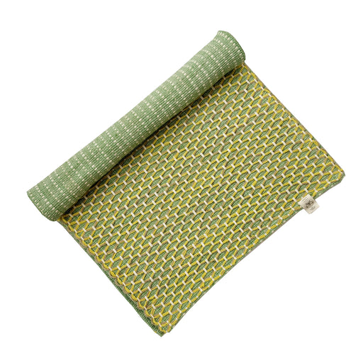 Sanathana - Green Yellow Jute And Cotton Yoga Mat - Deivee