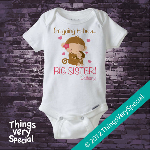 Big Sister Monkey Onesie Bodysuit Personalized short or long sleeve