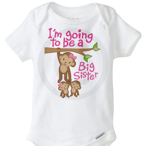 I'm going to be a big sister Onesie Bodysuit with twin baby monkeys | 01302014d ThingsVerySpecial