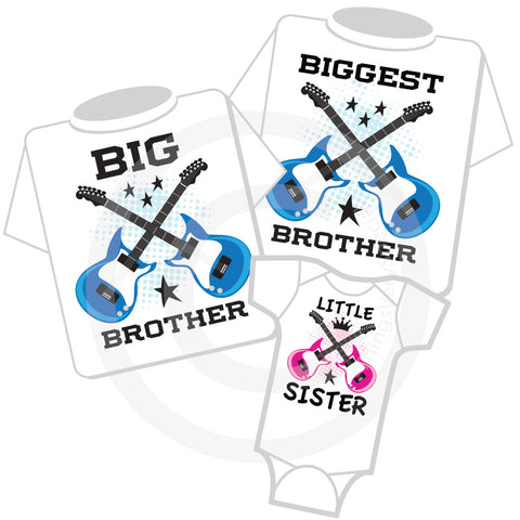 Matching Sibling Set of Three Guitar Shirts and Onesie