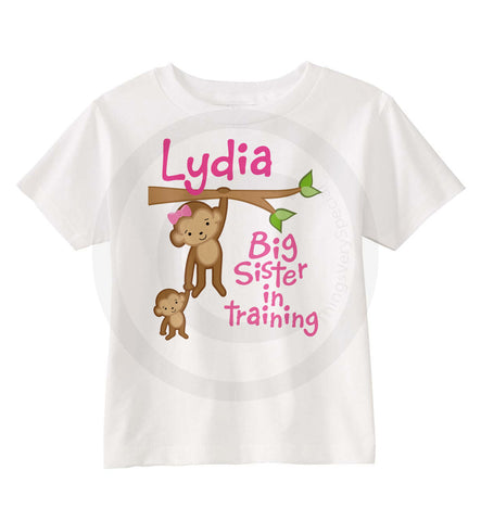 Big Sister In Training Shirt with Monkeys 03232012c ThingsVerySpecial