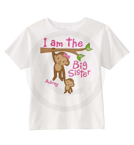 I am the Big Sister Shirt with cute Monkeys | 06182013a | ThingsVerySpecial
