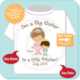 Girl's Big Sister to a little Mister Shirt, Light Brown Hair Princess, Brown Hair Baby Prince Pregnancy Announcement 07072014b