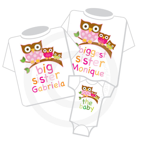 Matching Sibling Shirts with Cute Owls, Set of three