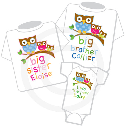 Matching Sibling Set of three shirts and Onesie with Owls