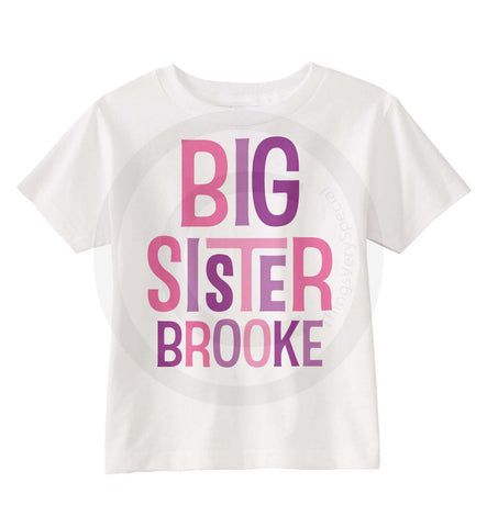 Big Sister Shirt with Pink and Purple Letters 12082011d