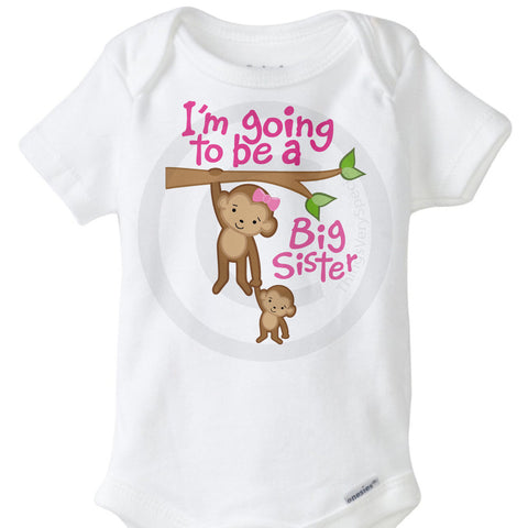 I'm going to be a Big Sister Onesie Bodysuit with Monkeys | 12132011a ThingsVerySpecial