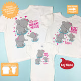Biggest Sister, Big Sister and Baby Sister Elephants, Girls Set of Three, Shirts and Onesie Personalized with your child's name 12192013c