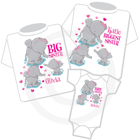 Biggest Sister Big Sister Baby Sister Elephant shirts 12192013c ThingsVerySpecial