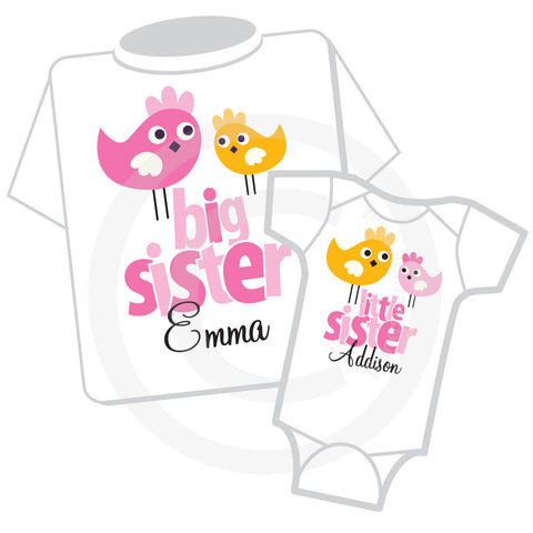 Birdie Big Sister Little Sister Outfit set.