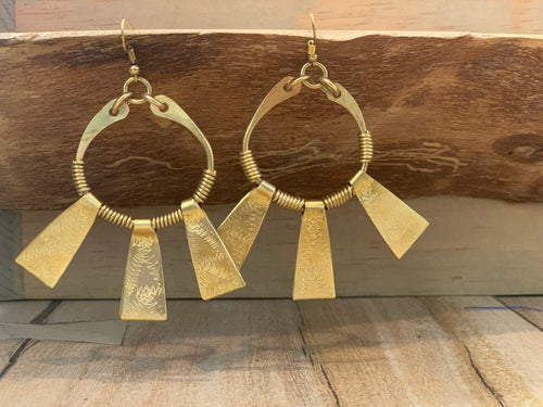 Earrings - Brass beams
