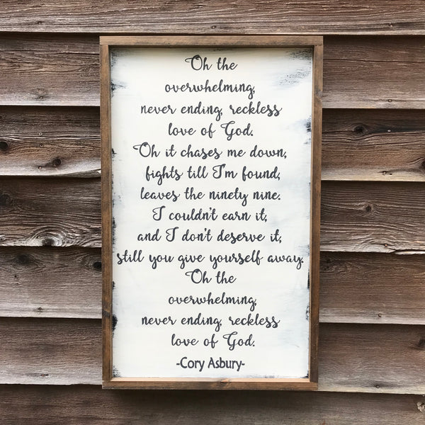 Reckless Love Wood Sign Vertical 18x30