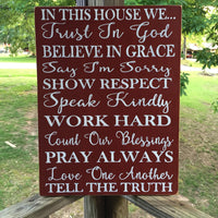 Family Rules Hand Painted Wood Sign