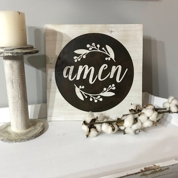 Amen Acid Wash Metal Disk and Wood Sign
