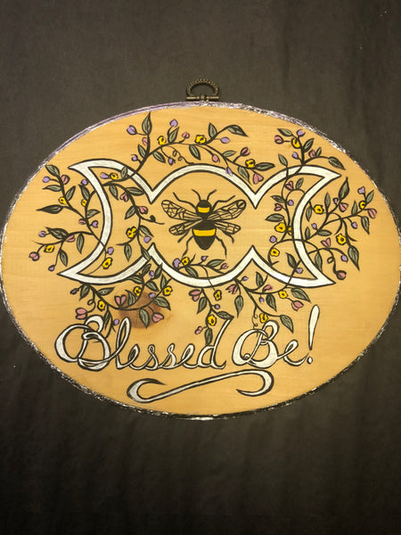 Blessed Be Triple Moon and Bee Oval Wall Plaque