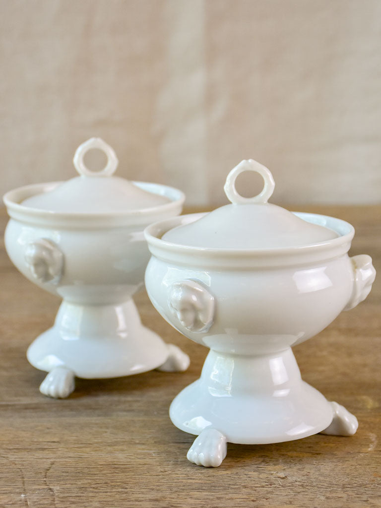 Pair of antique French compote bowls with lids - Empire