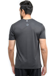 TRUEREVO MEN'S DRYFIT PRINTED T-SHIRT - COAL
