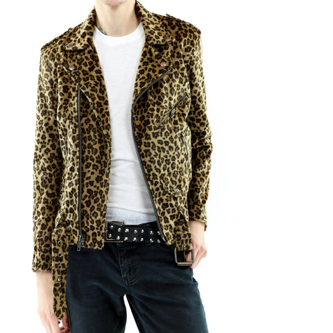 Men's Hairy Leopard Print Biker Jacket