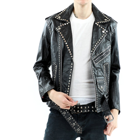 Men's Studded Leather Biker Jacket