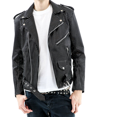 Men's Black and Silver Vegan Leather Biker Jacket