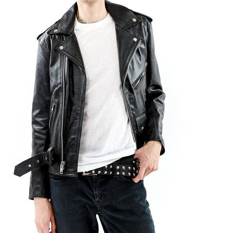Men's Classic Black Leather Biker Jacket