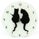 Frosted Glass Silhouette Cat Clock (Small)