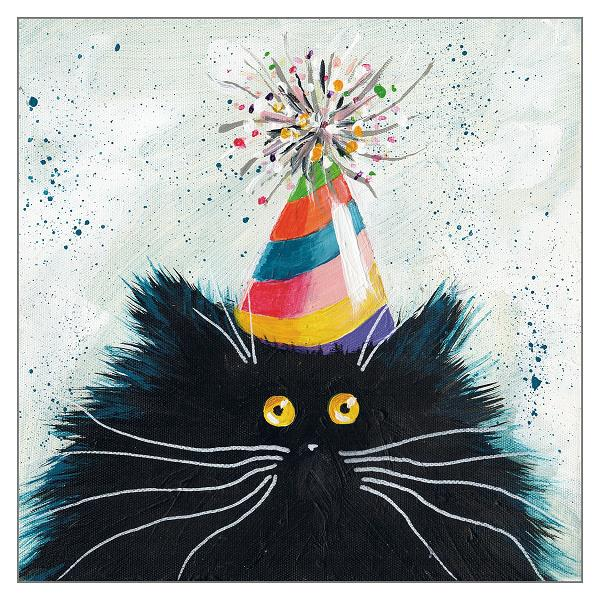 'Party Cat' Cat Greeting Card