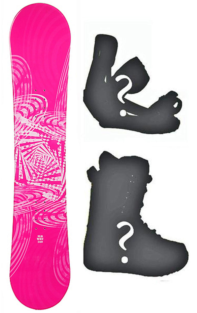 140cm SLQ Why Pink Rocker Womens Snowboard, Build a Package with Boots and Bindings.