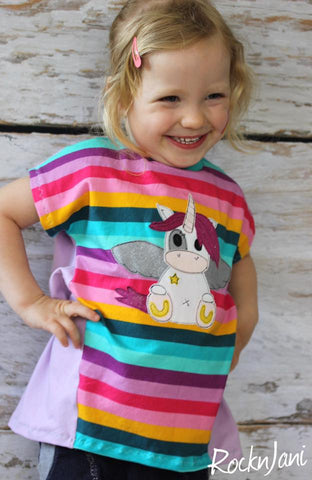 "Jersey ""Fun Stripes"", sowie Jeans-Jersey ""Denim"" - eBook - T-Shirt - Eesy Tee  - Nipnaps - ""Luck*ees"" - Hose - Applikationsvorlage/Applikation/Appli ""Einhorn Glitzersternchen"" Tilu Design - Streifen - Nähen für Kinder/Mädchen - Glückpunkt."