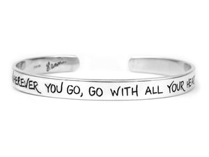 go with all your heart confucius quote cuff bracelet