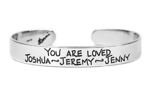 personalized cuff bracelet custom sterling silver jewelry