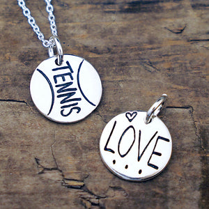 love tennis necklace tennis ball charm sterling silver