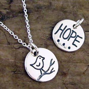 bird necklace hope charm sterling silver inspiration jewelry
