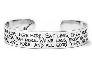 fear less hope more inspirational jewelry sterling silver cuff bracelet by hanni