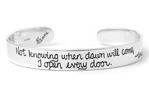 Open Every Door | Dickinson Quote Sterling Silver Cuff Bracelet