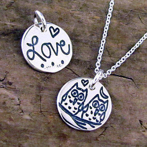 owl charm love lovebirds necklace wedding jewelry