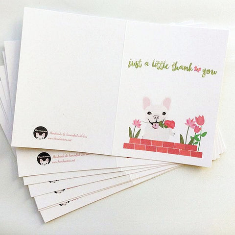 We produced custom handmade Frenchie greeting cards only with organic paper and envelopes Frenchiestore