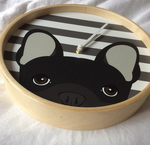 We produced peeking Frenchies in different colors on organic bamboo wood clocks