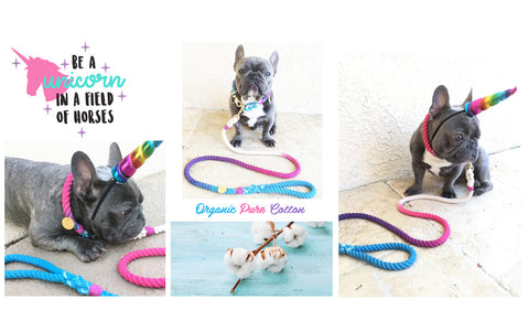 We produced frenchiestore organic cotton frenchie lead sets in various ombre colors and everlasting metal hardware.