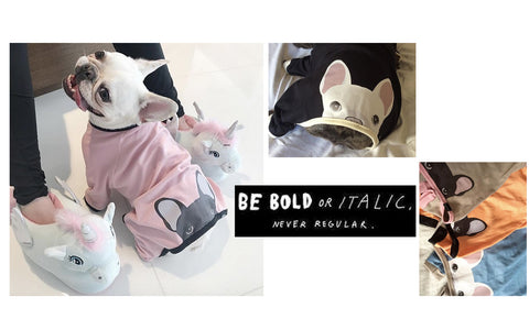 We produced organic Frenchie clothing including dog hoodies and Frenchie pajamas frenchiestore