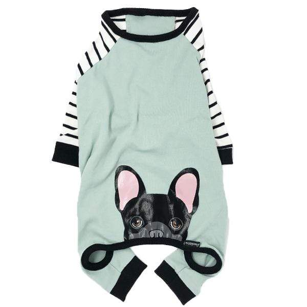 Frenchiestore Frenchie dog pjs with black Frenchie on the bum Hypoallergenic Organic Dog Pajama Black Frenchie PJ's