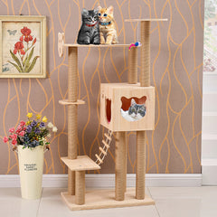 PVC Pole Cat Face with Ladder Wooden Cat Furniture