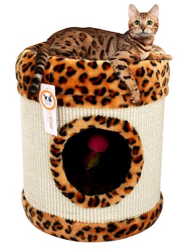 Leopard Print Cat Scratching Tube w/ Resting Bed Sisal Rug Scratch Toy