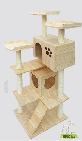 PVC Pole Multiple Perches Solid Wood Cat Gym