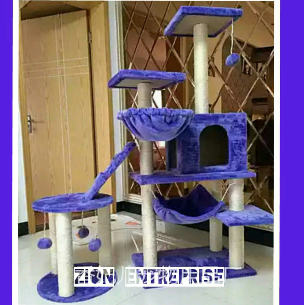 Carpeted Cat Scratcher Gym Set