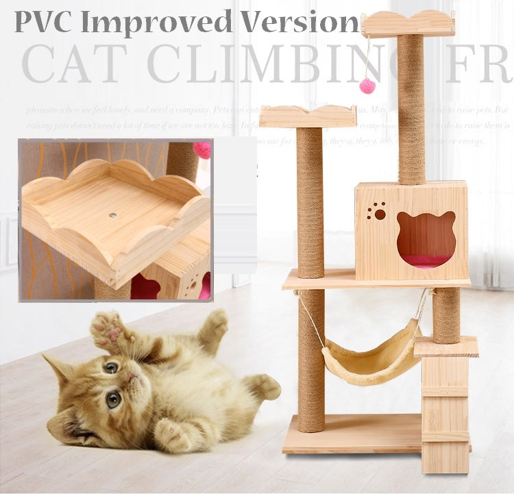 PVC Upgrade Solid Wood Cat Condo with Boarders