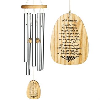 Woodstock Irish Blessing wind chime with personalised wind catcher